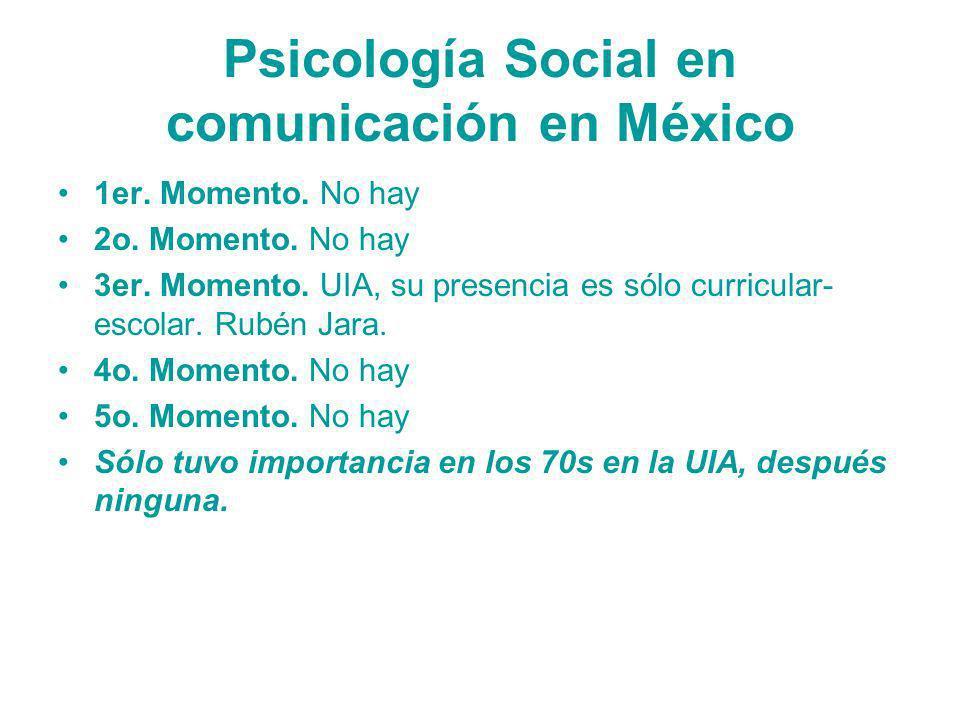 Psicología Social en comunicación en México 1er. Momento. No hay 2o. Momento. No hay 3er. Momento. UIA, su presencia es sólo curricular- escolar. Rubé
