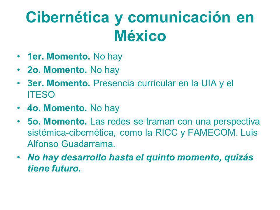 Cibernética y comunicación en México 1er. Momento. No hay 2o. Momento. No hay 3er. Momento. Presencia curricular en la UIA y el ITESO 4o. Momento. No