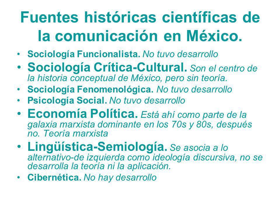 Fuentes históricas científicas de la comunicación en México. Sociología Funcionalista. No tuvo desarrollo Sociología Crítica-Cultural. Son el centro d
