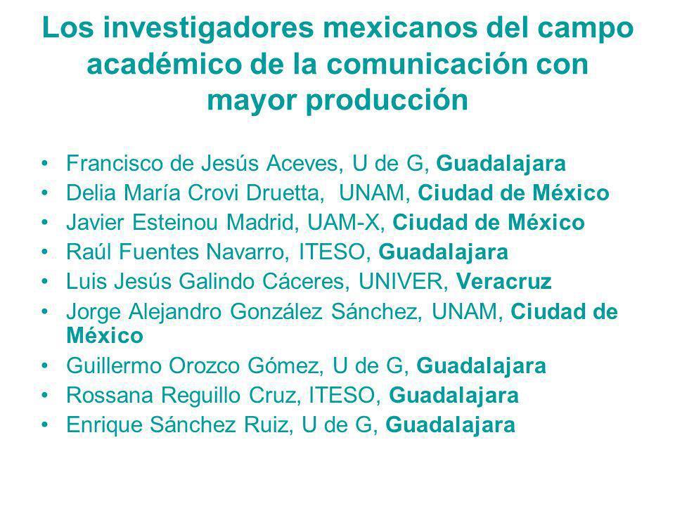 Los investigadores mexicanos del campo académico de la comunicación con mayor producción Francisco de Jesús Aceves, U de G, Guadalajara Delia María Cr