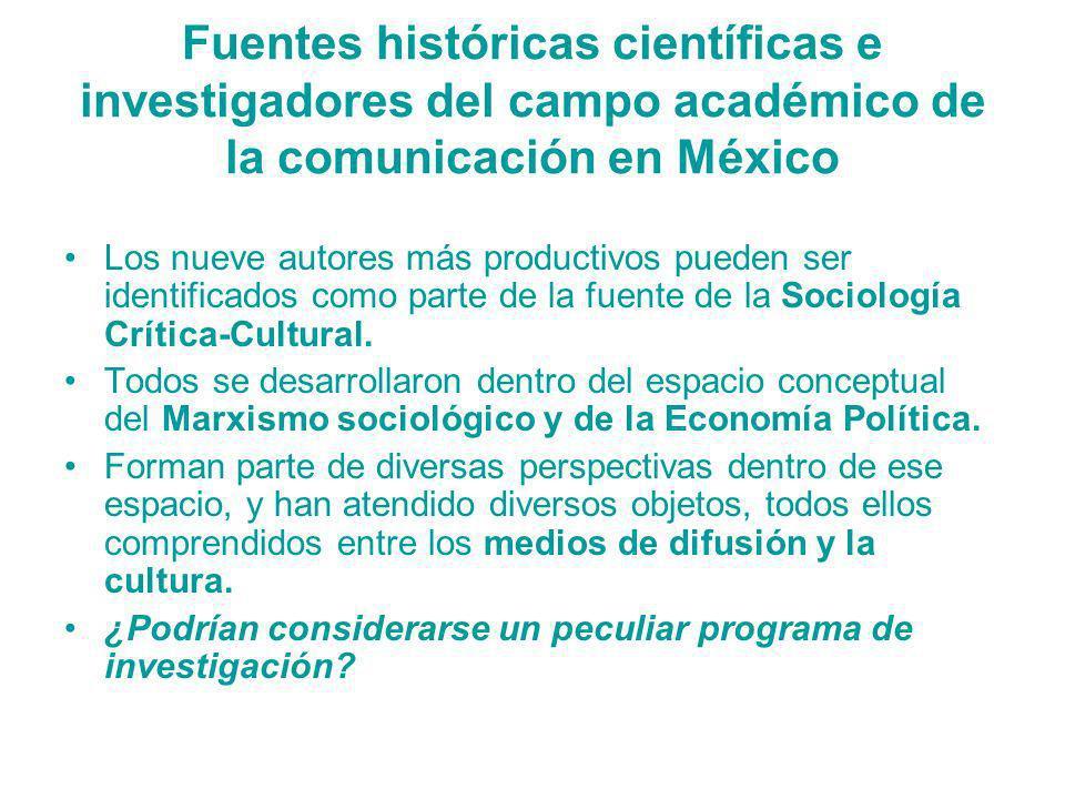 Fuentes históricas científicas e investigadores del campo académico de la comunicación en México Los nueve autores más productivos pueden ser identifi