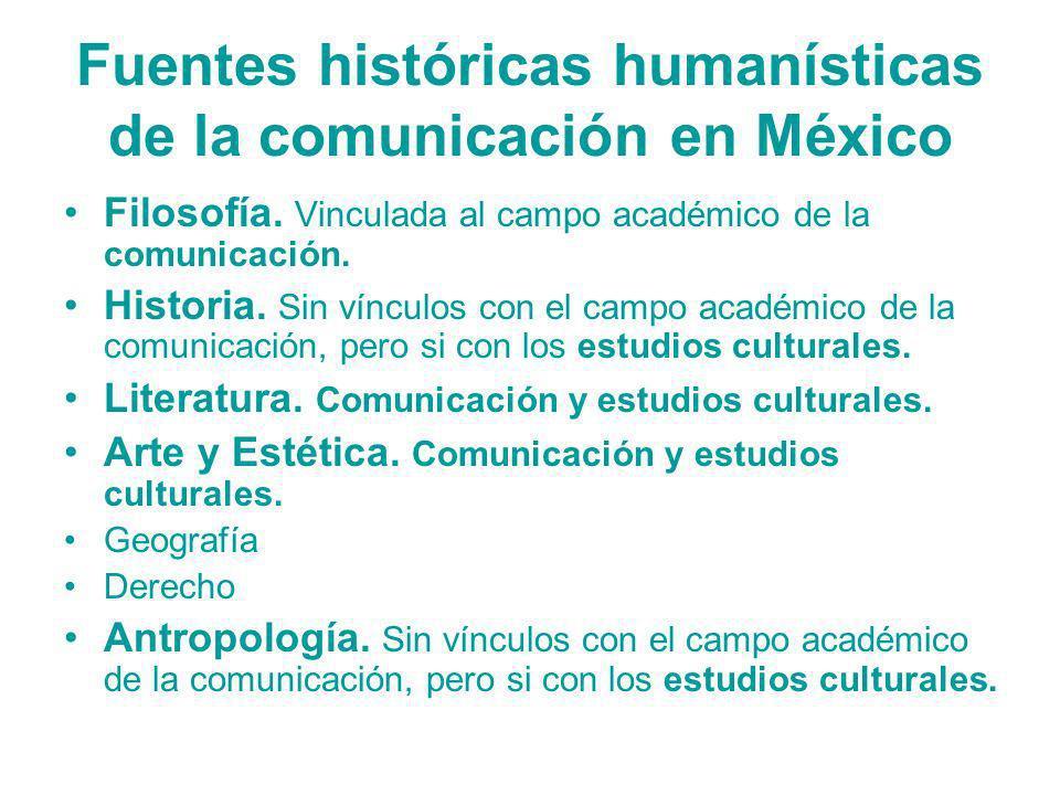 Fuentes históricas humanísticas de la comunicación en México Filosofía. Vinculada al campo académico de la comunicación. Historia. Sin vínculos con el