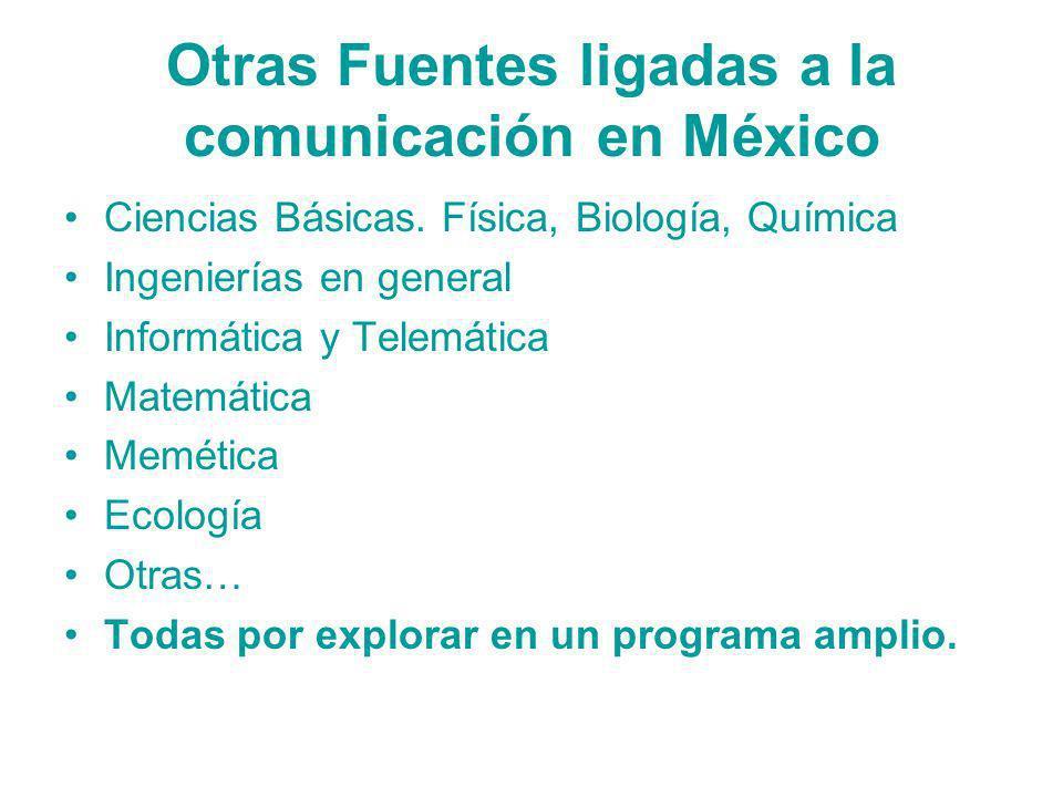 Otras Fuentes ligadas a la comunicación en México Ciencias Básicas. Física, Biología, Química Ingenierías en general Informática y Telemática Matemáti
