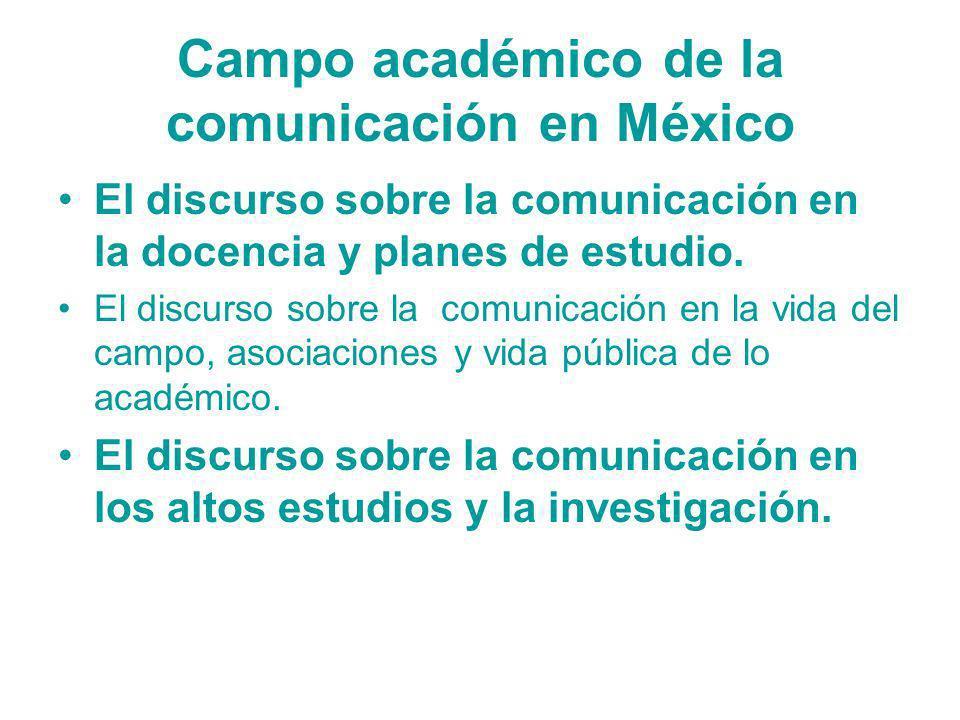 Campo académico de la comunicación en México El discurso sobre la comunicación en la docencia y planes de estudio. El discurso sobre la comunicación e