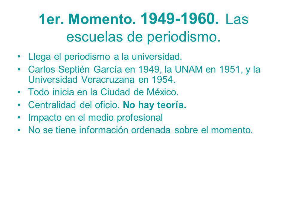 1er. Momento. 1949-1960. Las escuelas de periodismo. Llega el periodismo a la universidad. Carlos Septién García en 1949, la UNAM en 1951, y la Univer