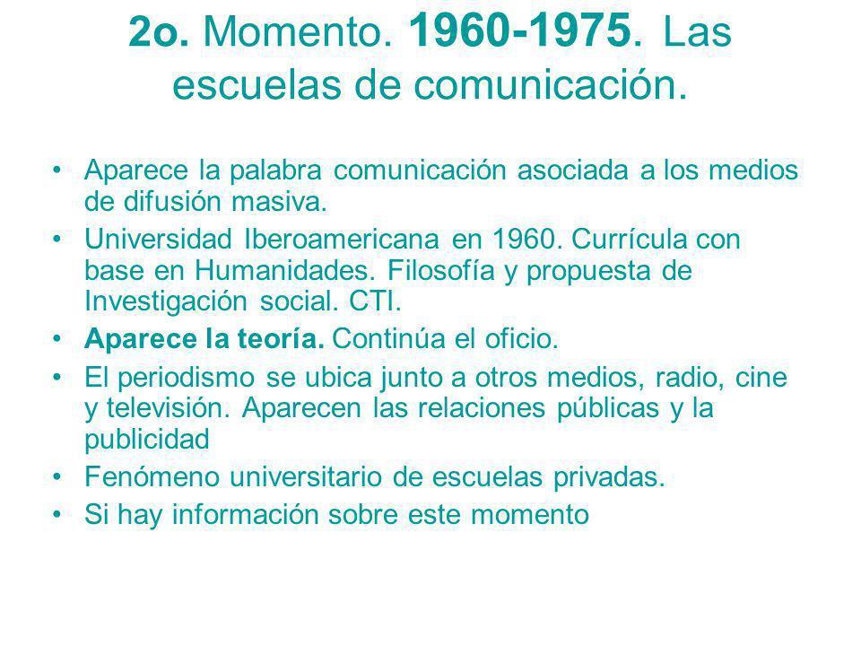 2o. Momento. 1960-1975. Las escuelas de comunicación. Aparece la palabra comunicación asociada a los medios de difusión masiva. Universidad Iberoameri