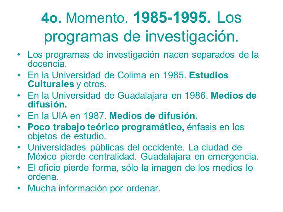 4o. Momento. 1985-1995. Los programas de investigación. Los programas de investigación nacen separados de la docencia. En la Universidad de Colima en