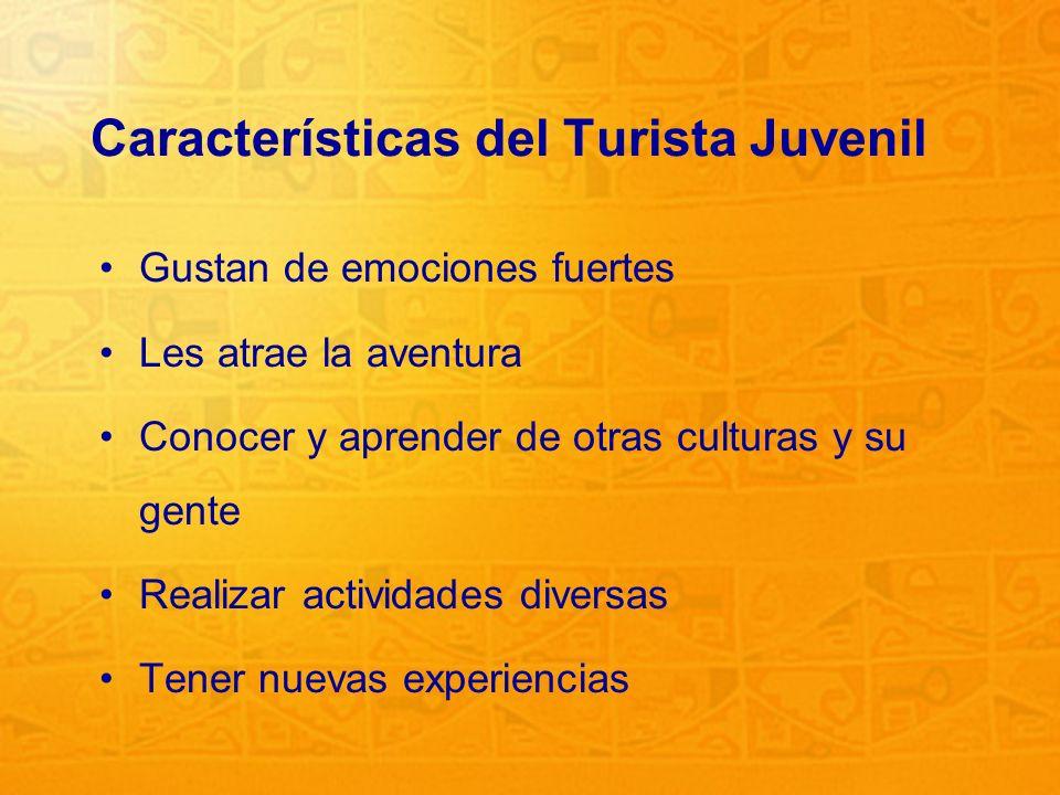 2 Características del Turista Juvenil Gustan de emociones fuertes Les atrae la aventura Conocer y aprender de otras culturas y su gente Realizar activ