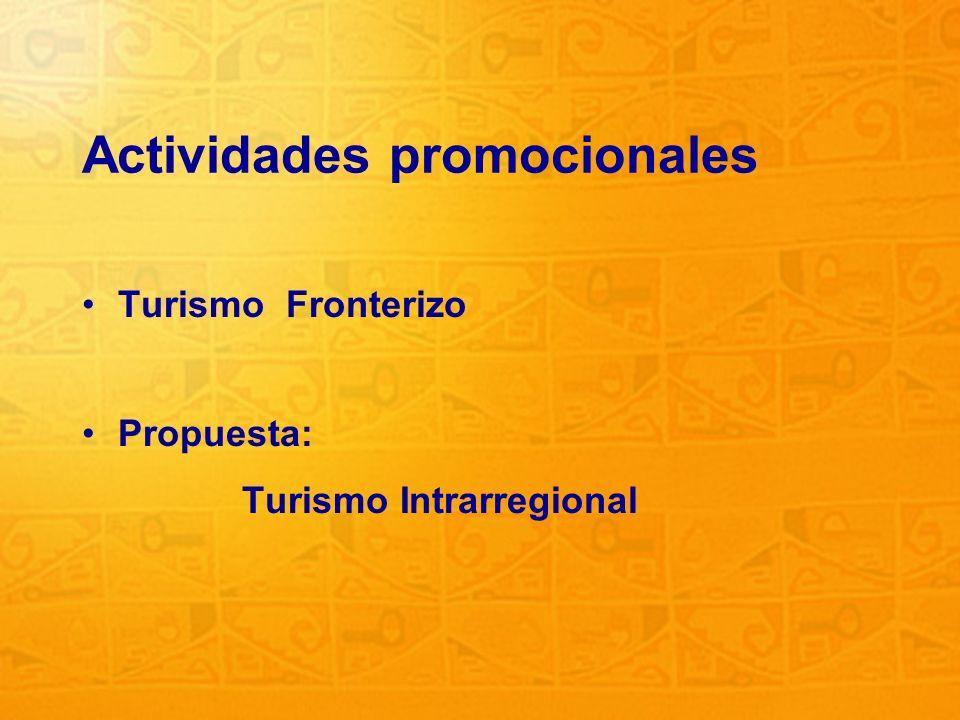 29 Actividades promocionales Turismo Fronterizo Propuesta: Turismo Intrarregional