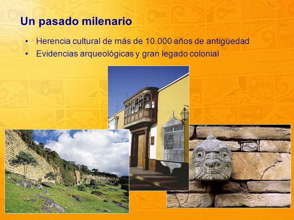6 Un pasado milenario Herencia cultural de más de 10.000 años de antigüedad Evidencias arqueológicas y gran legado colonial