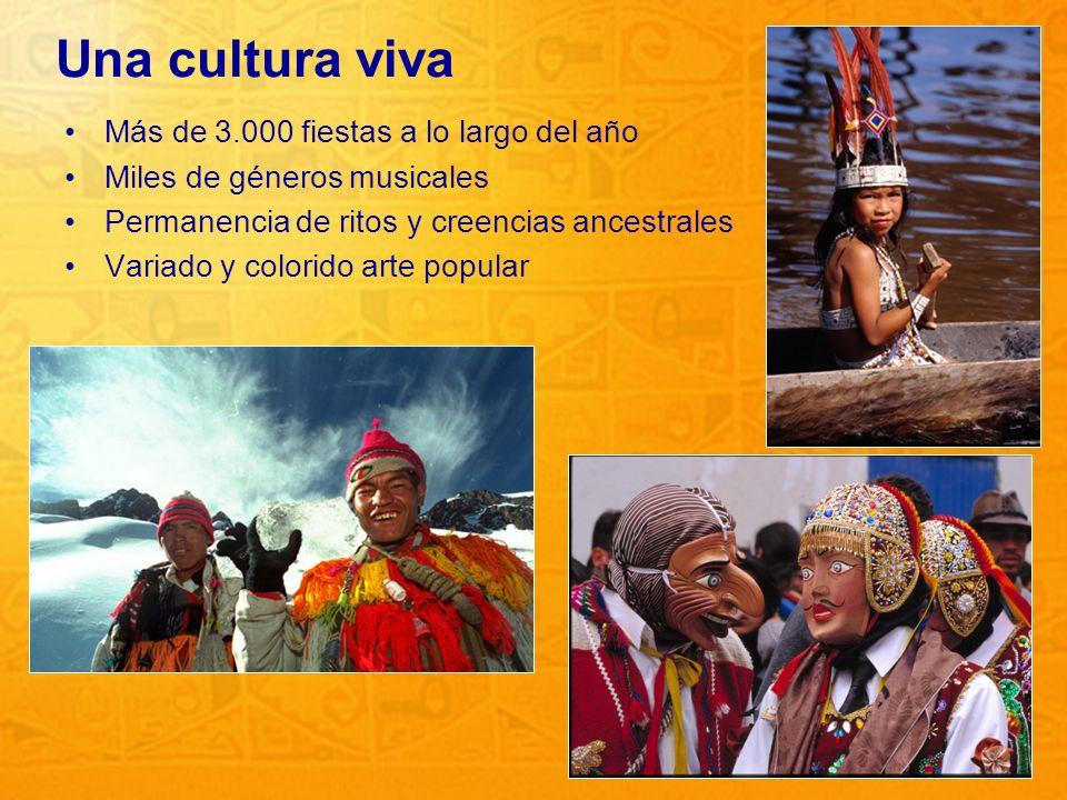 8 Una cultura viva Más de 3.000 fiestas a lo largo del año Miles de géneros musicales Permanencia de ritos y creencias ancestrales Variado y colorido