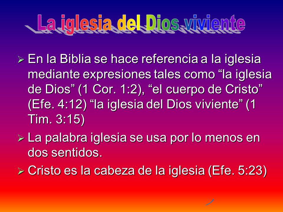 En la Biblia se hace referencia a la iglesia mediante expresiones tales como la iglesia de Dios (1 Cor. 1:2), el cuerpo de Cristo (Efe. 4:12) la igles