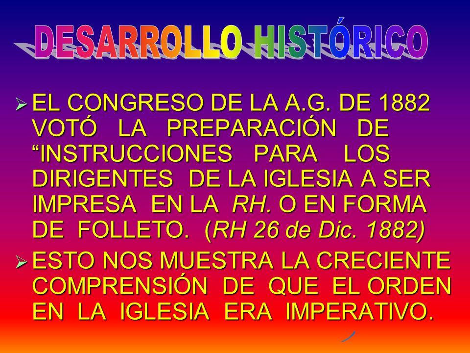 EL CONGRESO DE LA A.G. DE 1882 VOTÓ LA PREPARACIÓN DE INSTRUCCIONES PARA LOS DIRIGENTES DE LA IGLESIA A SER IMPRESA EN LA RH. O EN FORMA DE FOLLETO. (