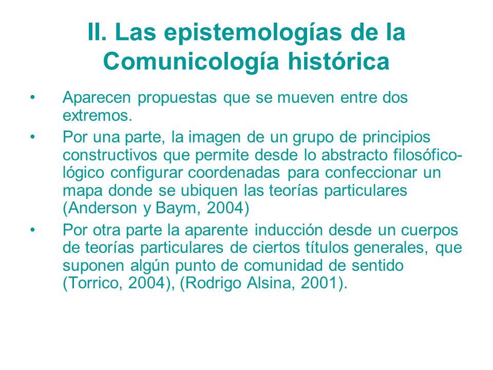 II. Las epistemologías de la Comunicología histórica Aparecen propuestas que se mueven entre dos extremos. Por una parte, la imagen de un grupo de pri