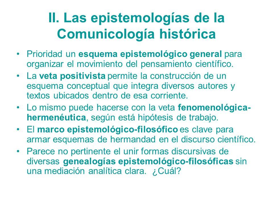 II. Las epistemologías de la Comunicología histórica Prioridad un esquema epistemológico general para organizar el movimiento del pensamiento científi