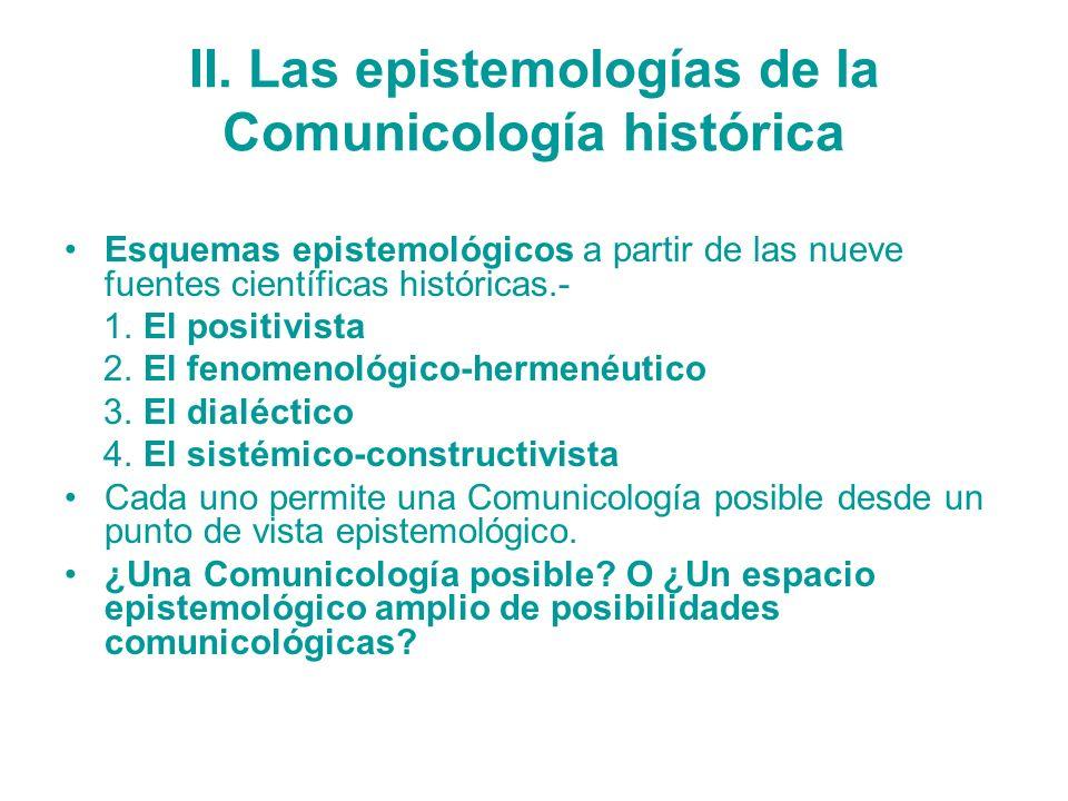 II. Las epistemologías de la Comunicología histórica Esquemas epistemológicos a partir de las nueve fuentes científicas históricas.- 1. El positivista