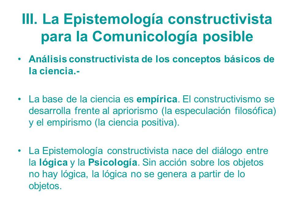 III. La Epistemología constructivista para la Comunicología posible Análisis constructivista de los conceptos básicos de la ciencia.- La base de la ci