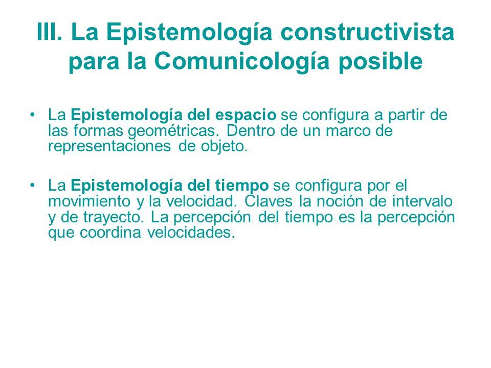III. La Epistemología constructivista para la Comunicología posible La Epistemología del espacio se configura a partir de las formas geométricas. Dent