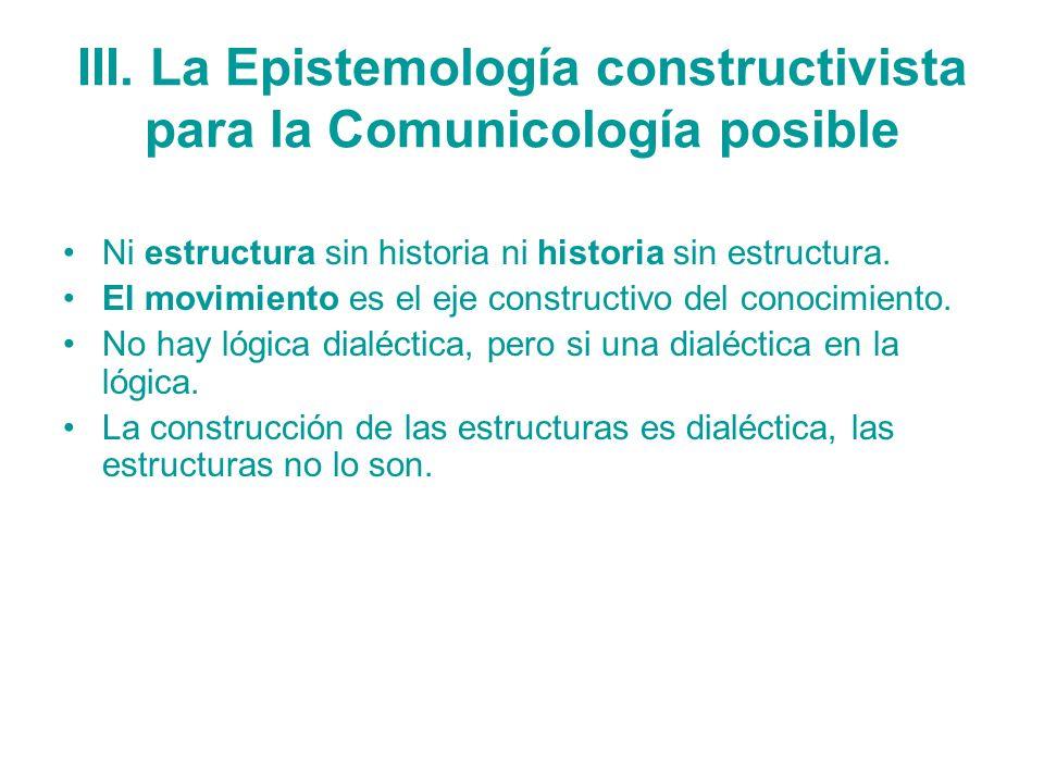 III. La Epistemología constructivista para la Comunicología posible Ni estructura sin historia ni historia sin estructura. El movimiento es el eje con
