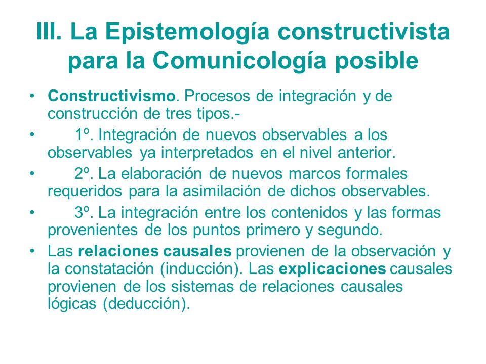 III. La Epistemología constructivista para la Comunicología posible Constructivismo. Procesos de integración y de construcción de tres tipos.- 1º. Int