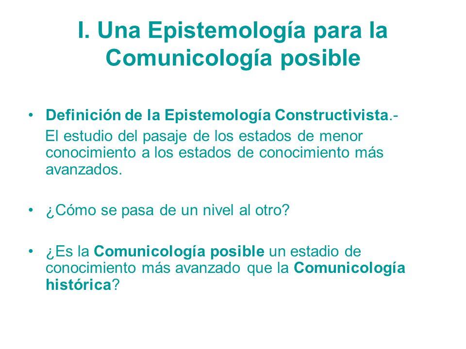 I. Una Epistemología para la Comunicología posible Definición de la Epistemología Constructivista.- El estudio del pasaje de los estados de menor cono