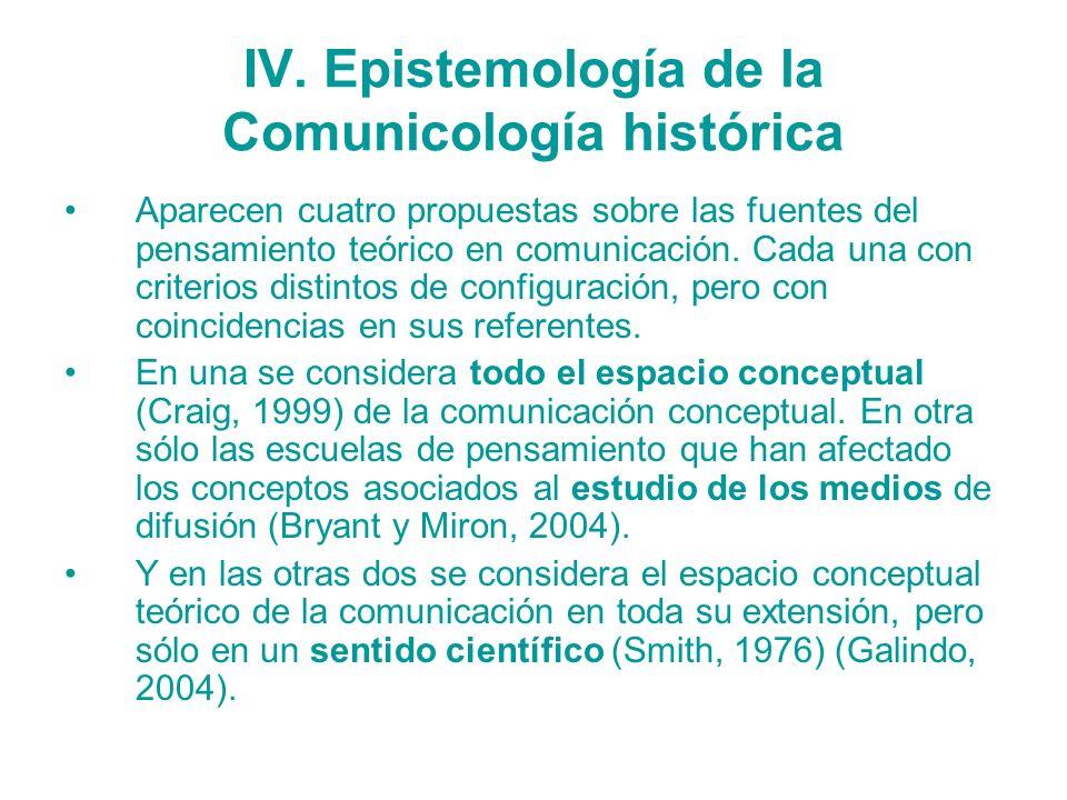 IV. Epistemología de la Comunicología histórica Aparecen cuatro propuestas sobre las fuentes del pensamiento teórico en comunicación. Cada una con cri