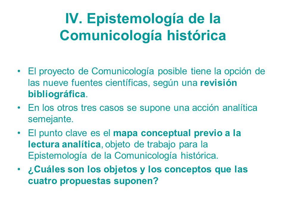 IV. Epistemología de la Comunicología histórica El proyecto de Comunicología posible tiene la opción de las nueve fuentes científicas, según una revis