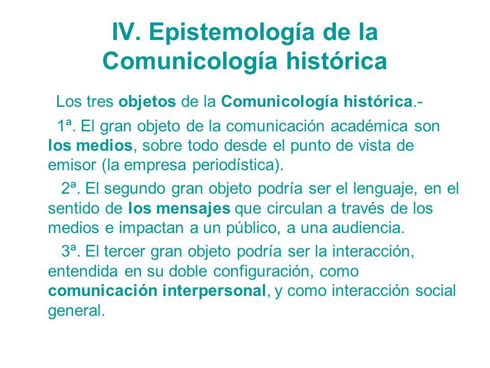 IV. Epistemología de la Comunicología histórica Los tres objetos de la Comunicología histórica.- 1ª. El gran objeto de la comunicación académica son l