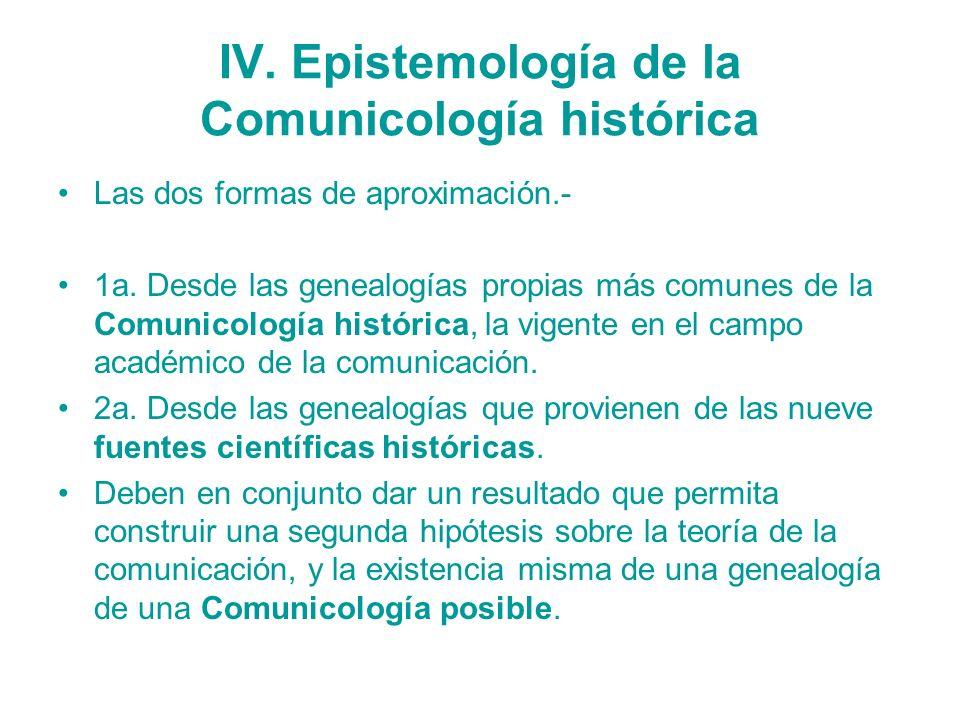 IV. Epistemología de la Comunicología histórica Las dos formas de aproximación.- 1a. Desde las genealogías propias más comunes de la Comunicología his