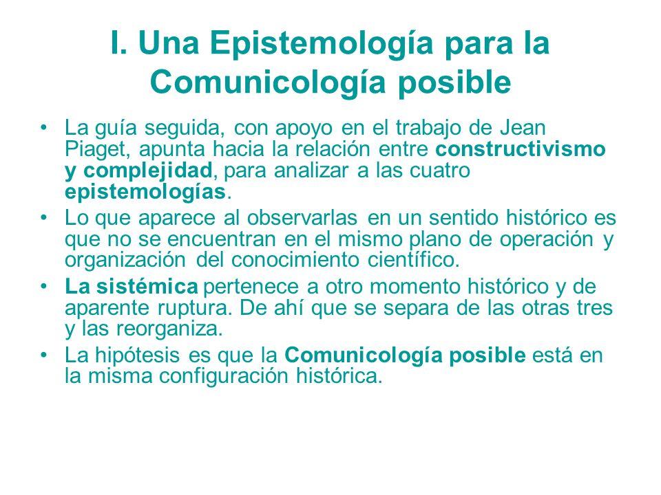 I. Una Epistemología para la Comunicología posible La guía seguida, con apoyo en el trabajo de Jean Piaget, apunta hacia la relación entre constructiv