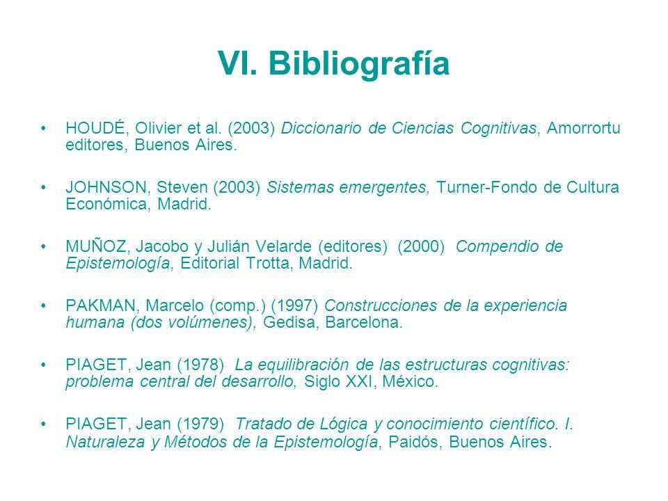 VI. Bibliografía HOUDÉ, Olivier et al. (2003) Diccionario de Ciencias Cognitivas, Amorrortu editores, Buenos Aires. JOHNSON, Steven (2003) Sistemas em