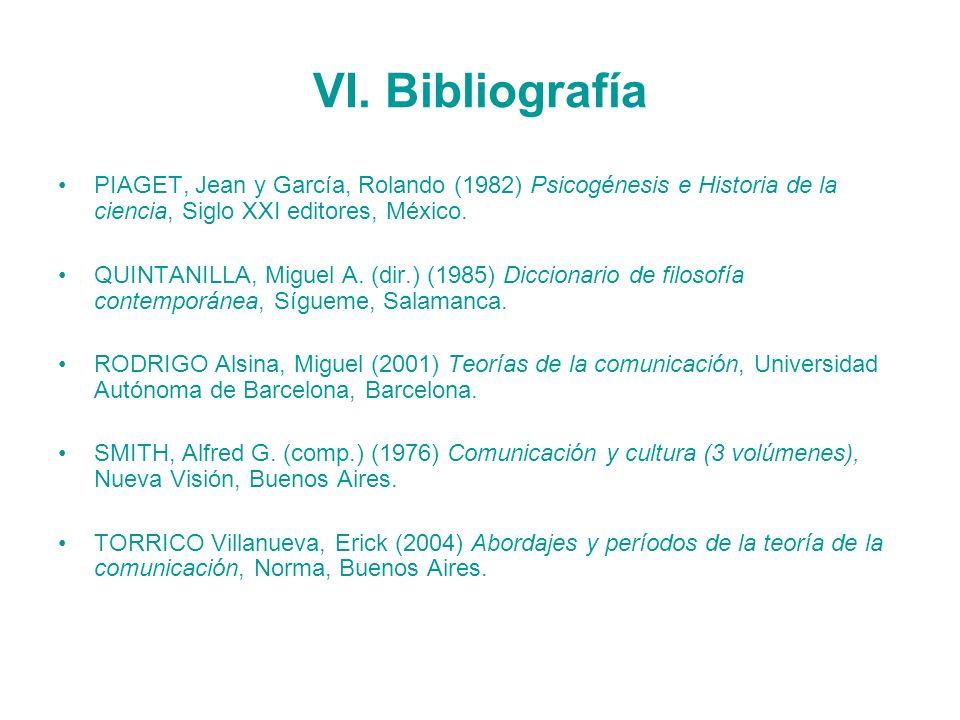 VI. Bibliografía PIAGET, Jean y García, Rolando (1982) Psicogénesis e Historia de la ciencia, Siglo XXI editores, México. QUINTANILLA, Miguel A. (dir.