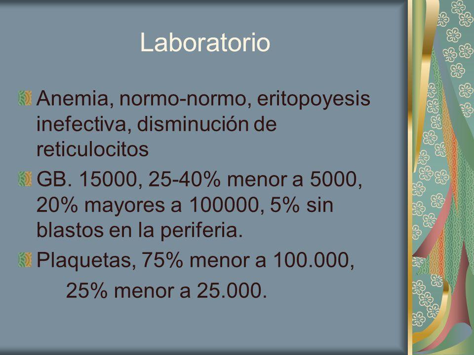 Laboratorio Anemia, normo-normo, eritopoyesis inefectiva, disminución de reticulocitos GB. 15000, 25-40% menor a 5000, 20% mayores a 100000, 5% sin bl
