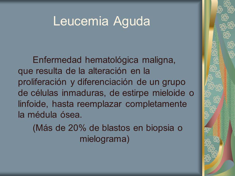 Leucemia Aguda Enfermedad hematológica maligna, que resulta de la alteración en la proliferación y diferenciación de un grupo de células inmaduras, de