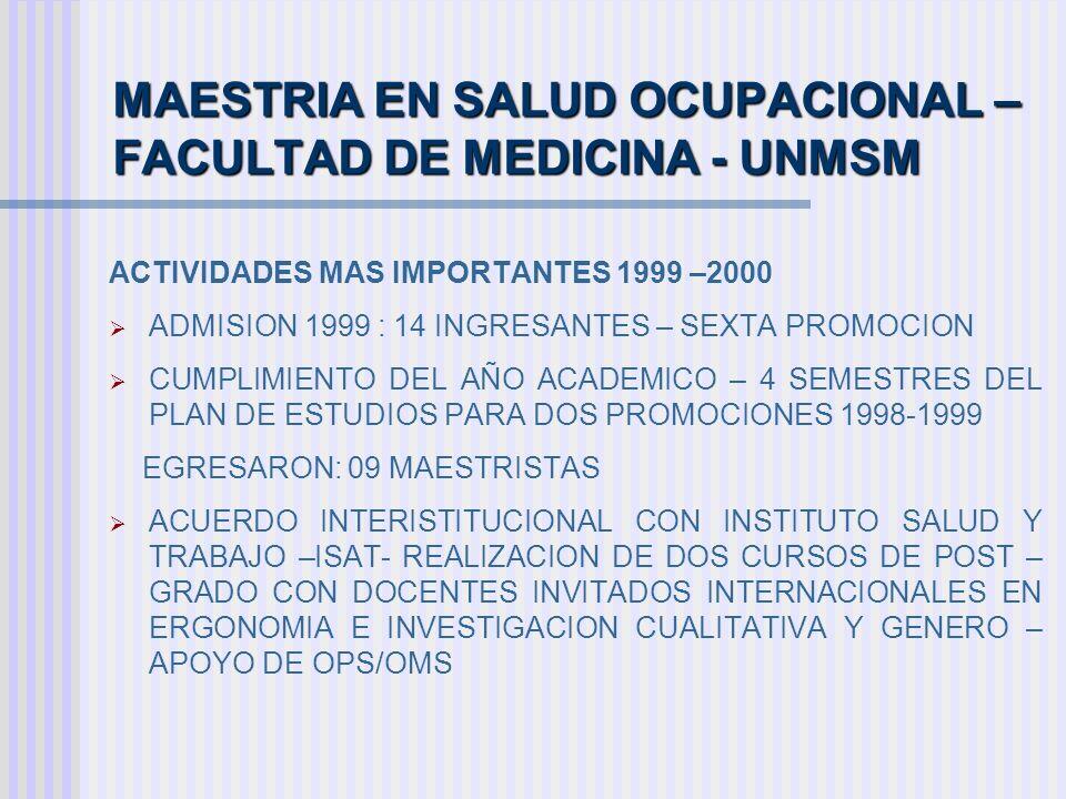 MAESTRIA EN SALUD OCUPACIONAL – FACULTAD DE MEDICINA - UNMSM ACTIVIDADES MAS IMPORTANTES 1999 –2000 ADMISION 1999 : 14 INGRESANTES – SEXTA PROMOCION C