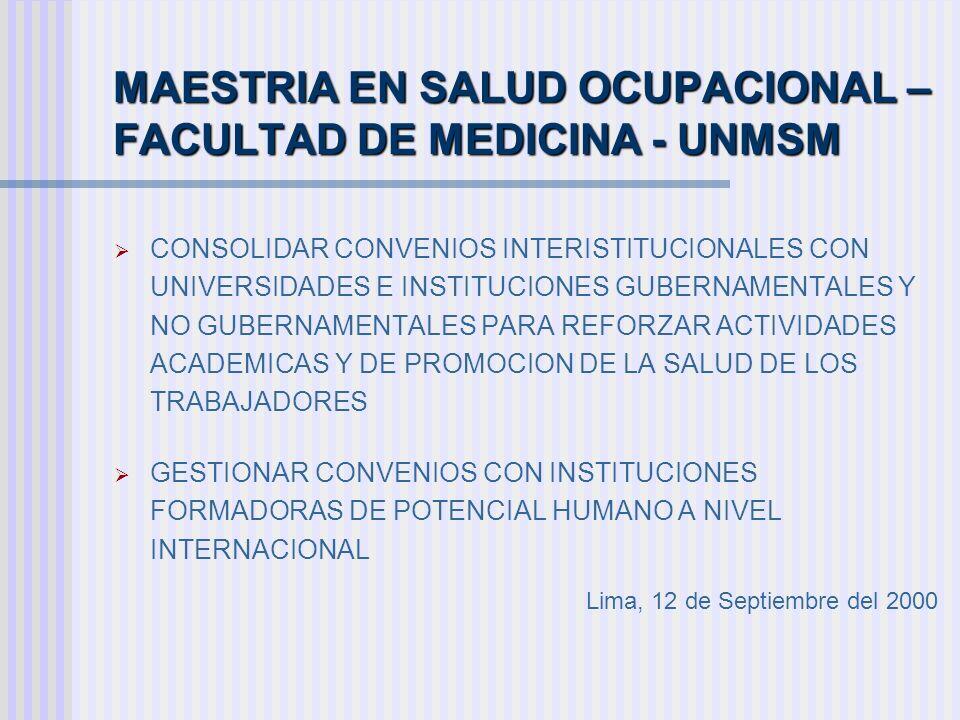 MAESTRIA EN SALUD OCUPACIONAL – FACULTAD DE MEDICINA - UNMSM CONSOLIDAR CONVENIOS INTERISTITUCIONALES CON UNIVERSIDADES E INSTITUCIONES GUBERNAMENTALE