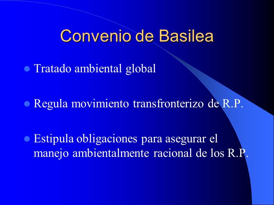 Convenio de Basilea Tratado ambiental global Regula movimiento transfronterizo de R.P. Estipula obligaciones para asegurar el manejo ambientalmente ra