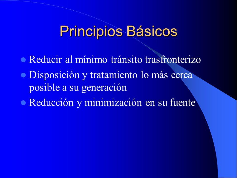 Principios Básicos Reducir al mínimo tránsito trasfronterizo Disposición y tratamiento lo más cerca posible a su generación Reducción y minimización e