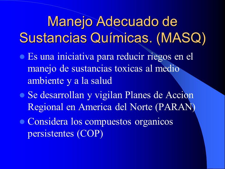 Manejo Adecuado de Sustancias Químicas. (MASQ) Es una iniciativa para reducir riegos en el manejo de sustancias toxicas al medio ambiente y a la salud
