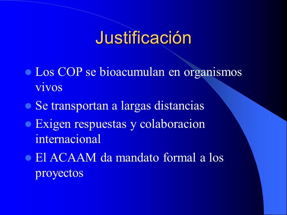 Justificación Los COP se bioacumulan en organismos vivos Se transportan a largas distancias Exigen respuestas y colaboracion internacional El ACAAM da