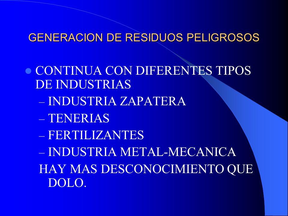 GENERACION DE RESIDUOS PELIGROSOS CONTINUA CON DIFERENTES TIPOS DE INDUSTRIAS – INDUSTRIA ZAPATERA – TENERIAS – FERTILIZANTES – INDUSTRIA METAL-MECANI