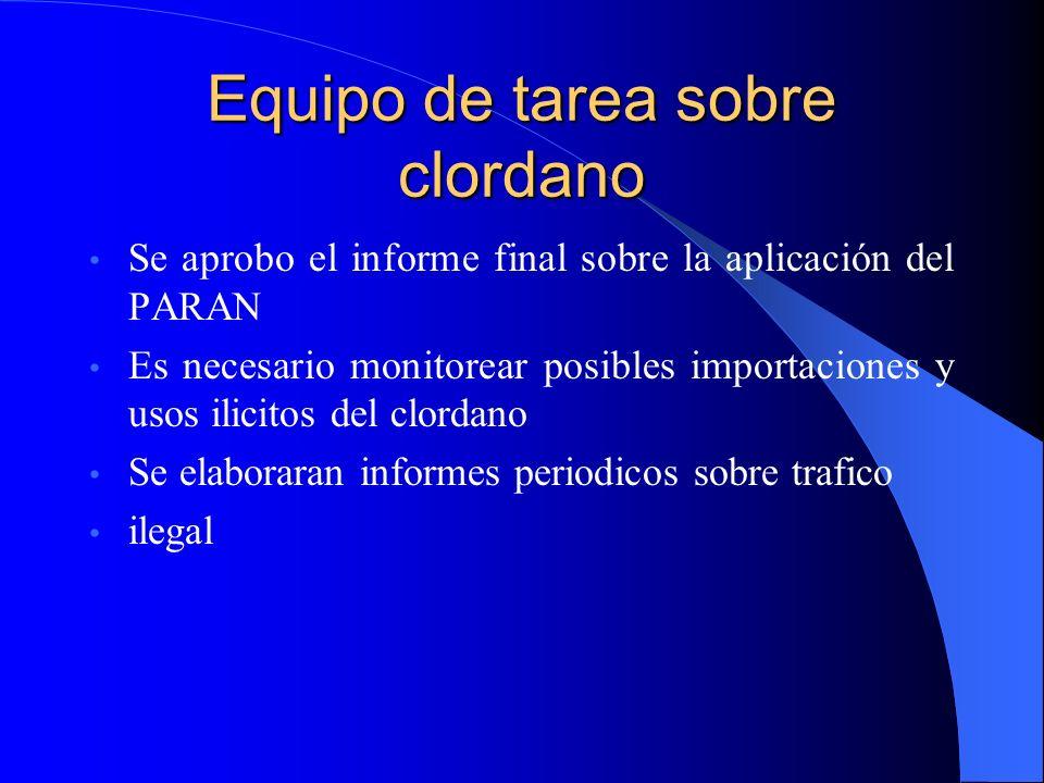 Equipo de tarea sobre clordano Se aprobo el informe final sobre la aplicación del PARAN Es necesario monitorear posibles importaciones y usos ilicitos