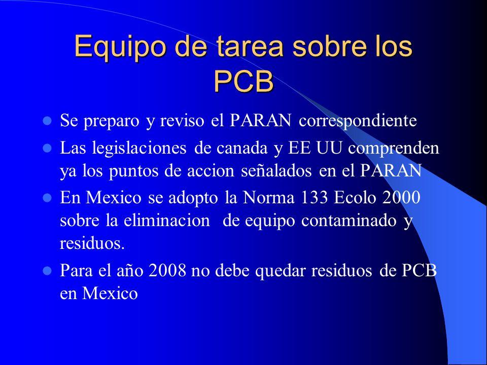 Equipo de tarea sobre los PCB Se preparo y reviso el PARAN correspondiente Las legislaciones de canada y EE UU comprenden ya los puntos de accion seña