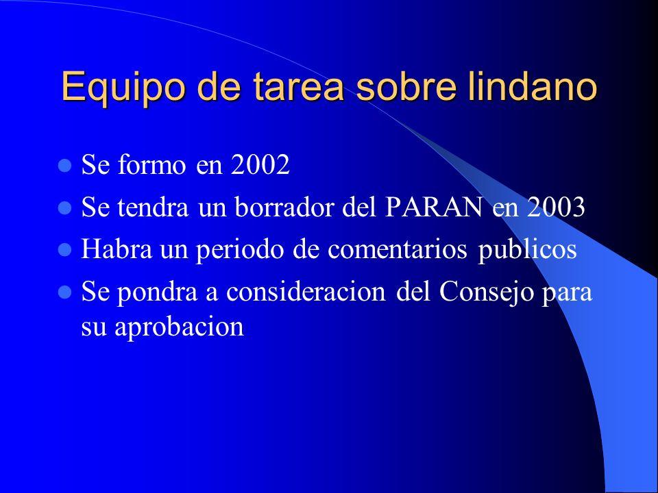 Equipo de tarea sobre lindano Se formo en 2002 Se tendra un borrador del PARAN en 2003 Habra un periodo de comentarios publicos Se pondra a considerac