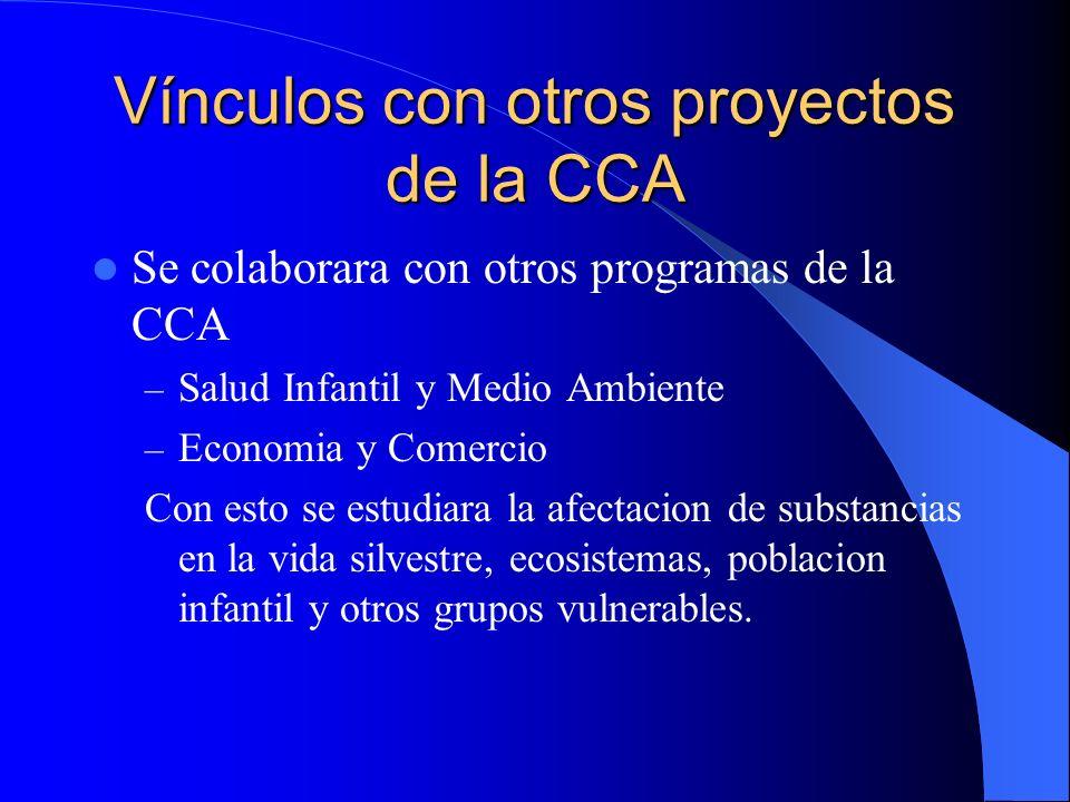 Vínculos con otros proyectos de la CCA Se colaborara con otros programas de la CCA – Salud Infantil y Medio Ambiente – Economia y Comercio Con esto se