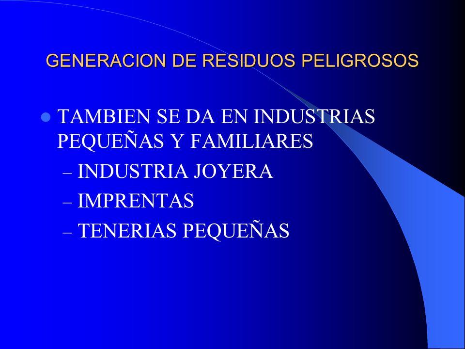 GENERACION DE RESIDUOS PELIGROSOS TAMBIEN SE DA EN INDUSTRIAS PEQUEÑAS Y FAMILIARES – INDUSTRIA JOYERA – IMPRENTAS – TENERIAS PEQUEÑAS