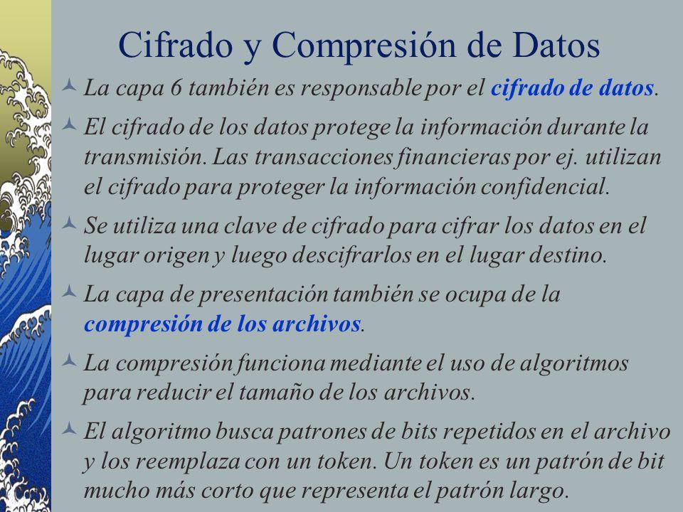 Cifrado y Compresión de Datos La capa 6 también es responsable por el cifrado de datos. El cifrado de los datos protege la información durante la tran