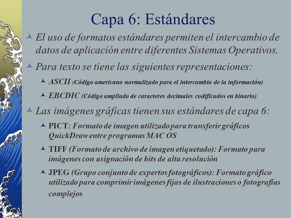 Capa 6: Estándares El uso de formatos estándares permiten el intercambio de datos de aplicación entre diferentes Sistemas Operativos. Para texto se ti