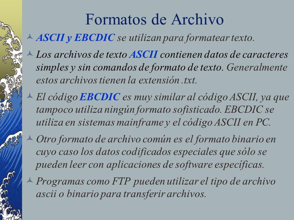 Formatos de Archivo ASCII y EBCDIC se utilizan para formatear texto. Los archivos de texto ASCII contienen datos de caracteres simples y sin comandos