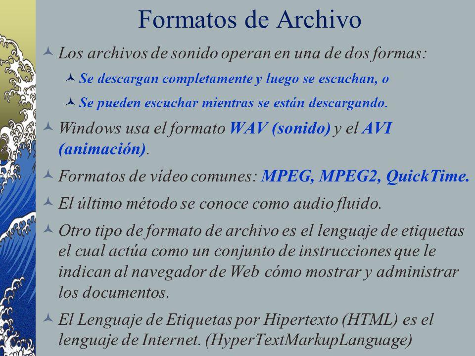Formatos de Archivo Los archivos de sonido operan en una de dos formas: Se descargan completamente y luego se escuchan, o Se pueden escuchar mientras